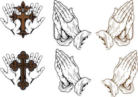 mano de dios: siluetas de manos rezando con un rosario y una cruz