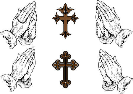 rosary: silhouettes of hands praying with a rosary and a cross Illustration
