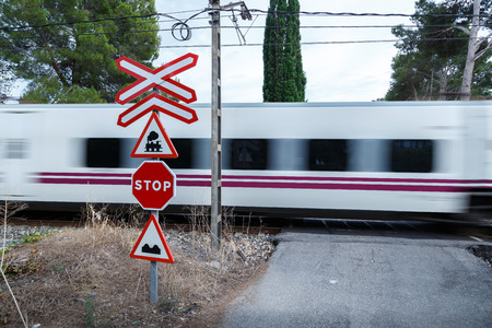 High speed train in a level crossing without barriers