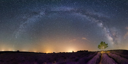 Panoramic view of the Milky Way in the lavender fields of Brihuega