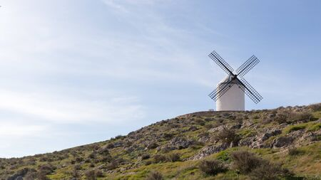 One of the famous windmills in the city of Consuegra on top of a hill