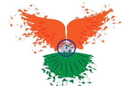Happy independence day of India,  flying pigeon .vector illustration.