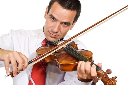 Businessman take a rest playing easily at violin as a master - isolated