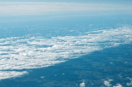 Peaceful, calm clouds, seen from airplane Stock Photo
