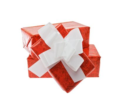 Wrapped up presents on a white background