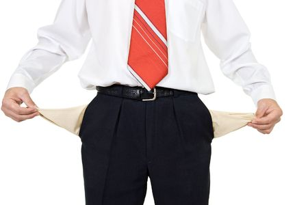 broke: Bankrupt businessman holding his empty pockets Stock Photo