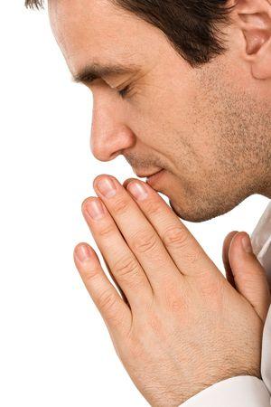 Persona est� orando, se uni� cierre sus manos Foto de archivo - 4652216