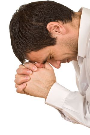 praise god: Person is praying, joined clasp his hands Stock Photo