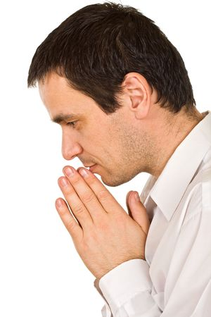 Person is praying, joined clasp his hands Stock Photo - 4679208