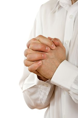 Person is praying, joined clasp his hands Stock Photo - 4679358