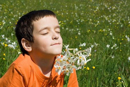 Boy smelling flowers in the meadow photo