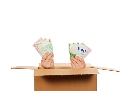 carboard box: Hands with money inside of a carboard box