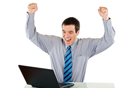Happy successful businessman with laptop - isolated Stock Photo