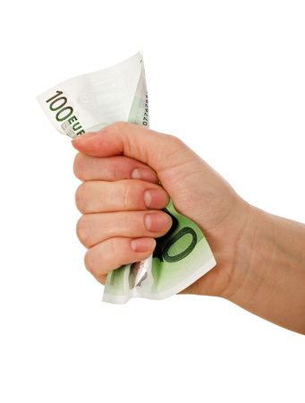 Crumpled euro banknote in a woman hand - isolated