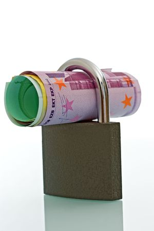 Padlock currencies, concept of financial security - isolated