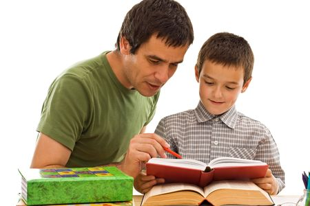 Happy schoolboy and hid father learning together photo
