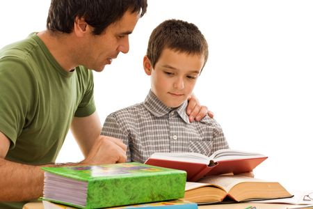 Happy schoolboy and his father learning together - isolated