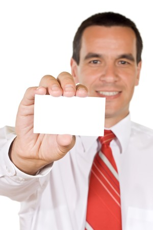 Young businessman holding blank business card - isolated Stock Photo