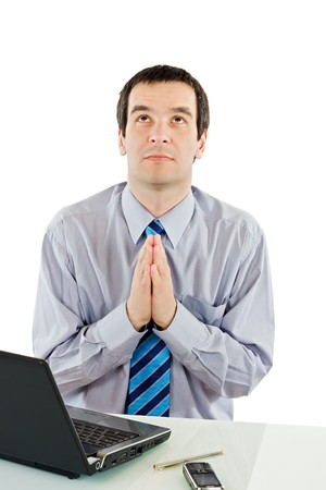 Businessman praying for success Stock Photo - 7349926
