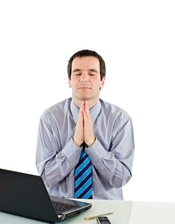 Businessman praying for success Stock Photo - 7418729