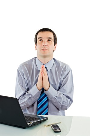 Businessman praying for success Stock Photo - 7418733