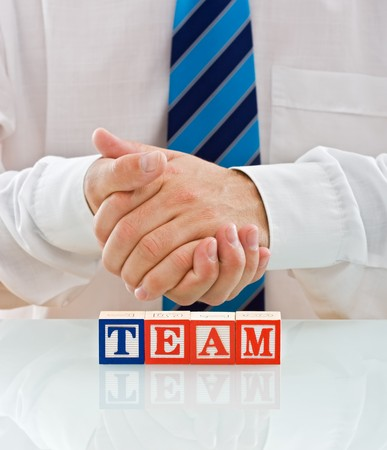 joining forces: Joining forces, team work concept Stock Photo