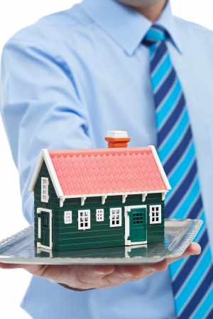 Businessman offering house - real estate concept Stock Photo - 17161079