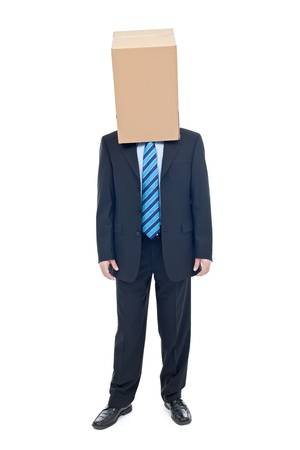 carboard box: Businessman with carboard box on his head Stock Photo