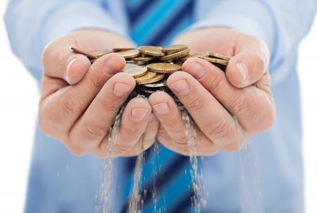 Businessman escape his control of the money - money concept