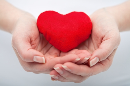 Red heart in the protective woman hand  Stock Photo