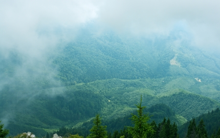 Fog and cloud over beautiful mountains  Stock Photo
