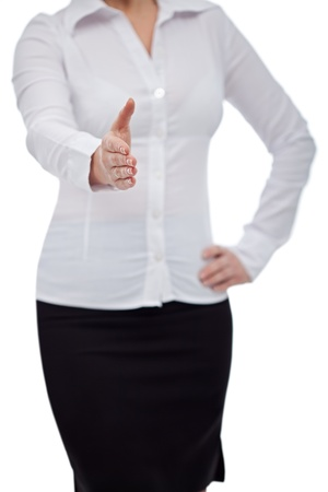 Pretty business woman giving hand for handshake Stock Photo