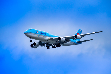 SEOUL, SOUTH KOREA - APRIL 8, 2018: A Korean Air Boeing 747 approaching the landing strip at Incheon Airport - the International airport for Seoul, South Korea. Editorial