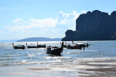 railay: Boats on a beach, West Railay, Krabi, Thailand Stock Photo