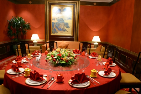 chinese cuisine: The decor of a Chinese restaurant Editorial