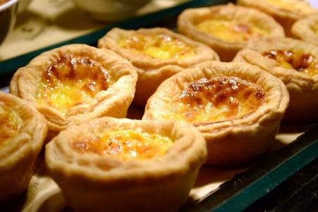 portugese: portugese egg tart desserts at buffet