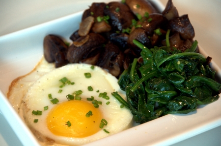 white truffle: Egg en cocotte with spinach, mushroom and white truffle