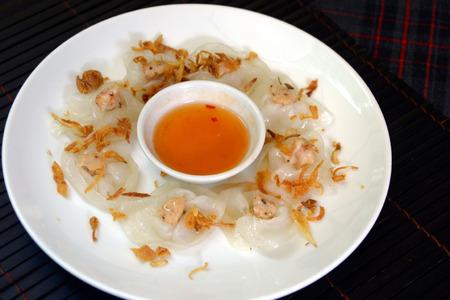 vac: White rose banh bao vac shimp dumpling in Hoi An, Vietnam