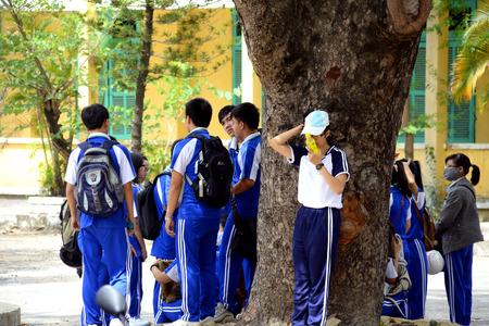 secondary: Students in Secondary school in Danang Vietnam Editorial