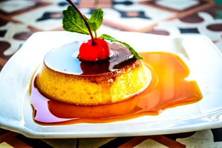 flan: Flan Caramel Egg Custard dessert Stock Photo