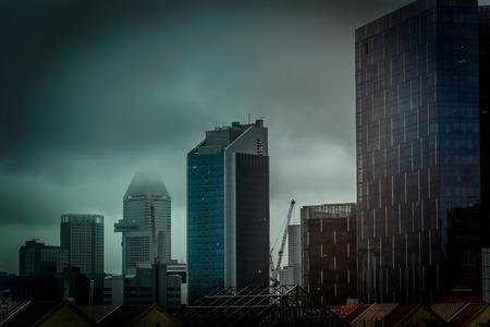 sky line: Singapore Raffles Place cloudy sky line