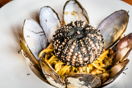 epicurean: Spaghetti with Sunset Clams and Sea Urchin Stock Photo