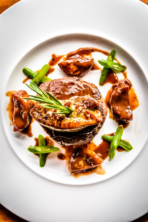 crouton: Grilled 200g Angus Beef Tenderloin Filet with Foie Gras, Crouton, Figs, Port Wine sauce