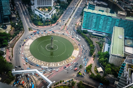 epicurean: Thamrin roundabout in Jakarta Editorial