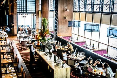 high class: modern contemporary High class fine dining restaurant interior