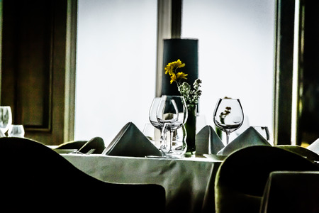 high class: table setting in modern contemporary High class fine dining restaurant interior