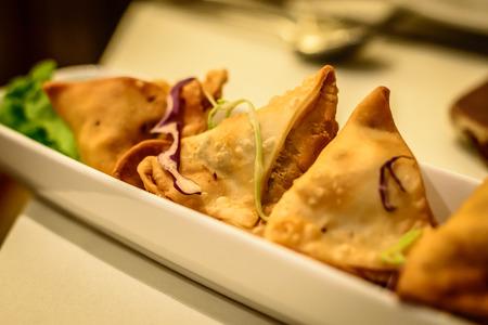 appetiser: Fried potato samosa appetiser in Indian restaurant