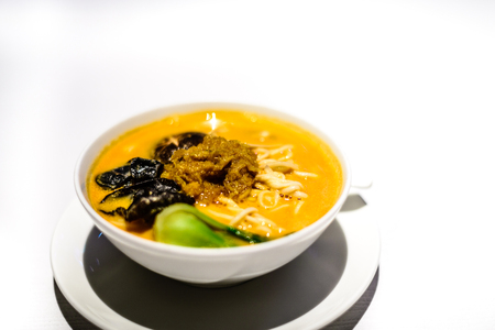 Dan Dan noodle with crab roe Delicious smooth noodles complemented with a creamy soup