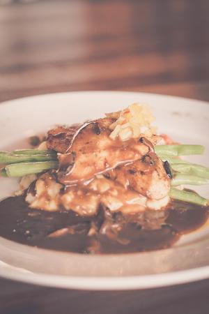 Japanese White Tuna, Mashed Potato, Cream Sauce, Pineapple Salsa, Mushroom Sauce, Selected Vegetables Stock Photo - 110368330