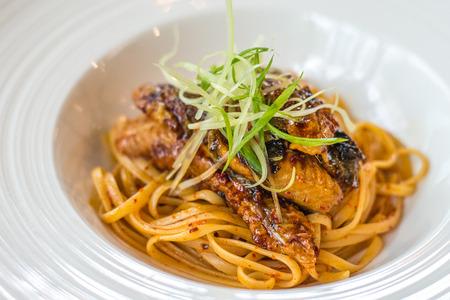 Unagi Aglio Olio with linguine and chilli flakes and garlic flavouring